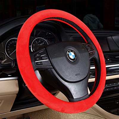 15 inch Wool Car Steering Wheel Cover Universal, Winter Warm summer cool, Auto Anti-Slip Protector, Odorless,Red: Automotive