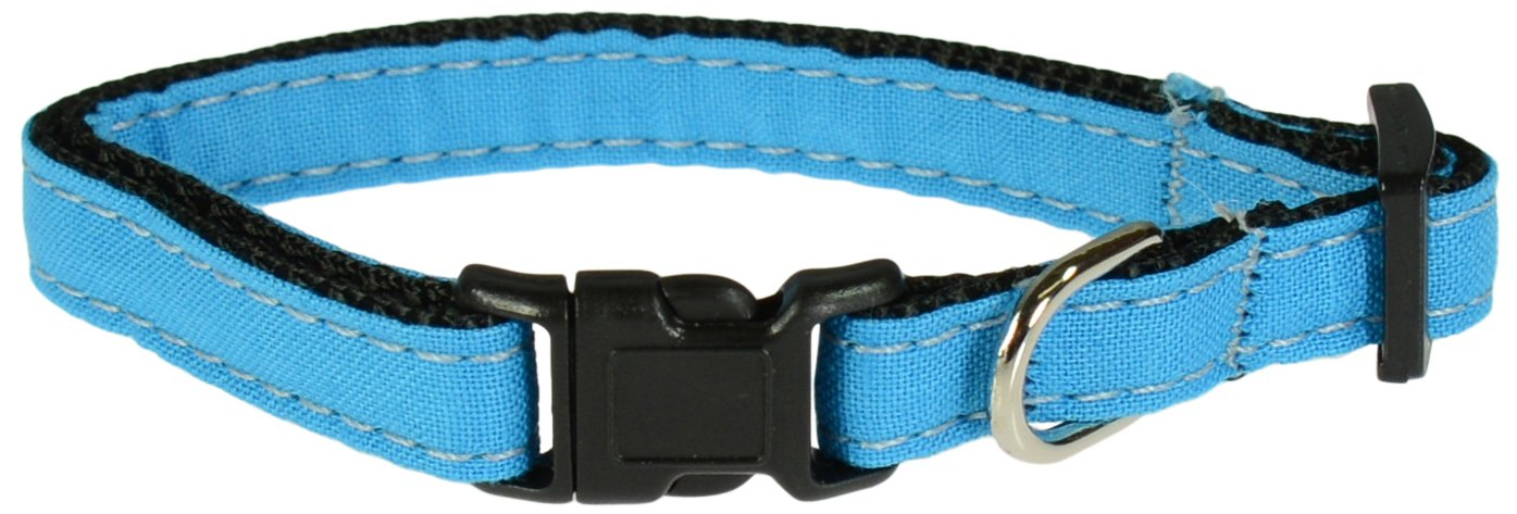 Bright bluee Small Bright bluee Small Evans Collars Adjustable Nylon Collar, Small, Solid Cotton, Bright bluee