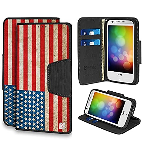 Spots8 HTC Desire 510 Case PU Leather TPU Card Slot Bill Fold Magnetic Flap Kickstand American Flag (Htc Desire 510 Flap Case)