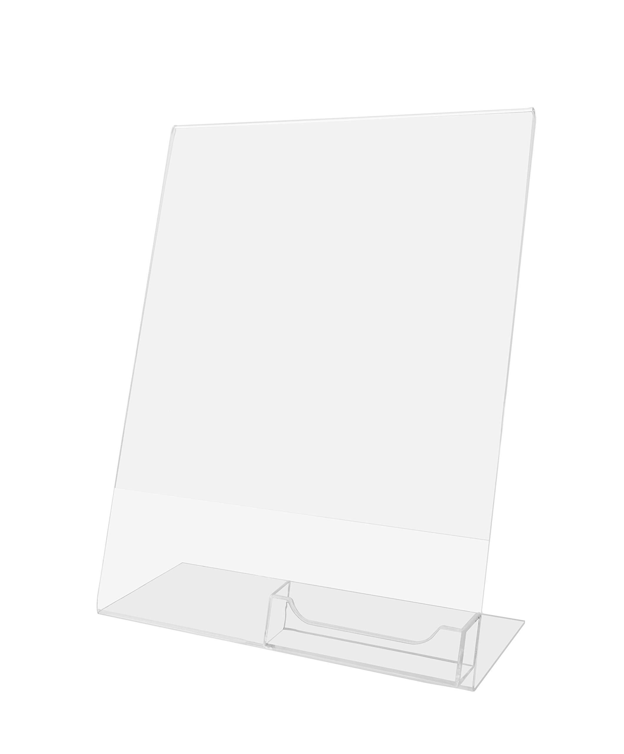 Set of 12, 8.5x11 L-Shaped Sign Holders with Business Card Pocket, for Tabletop Use, Slant Back - Clear Acrylic
