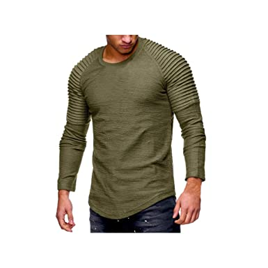 bb98a37d Hirate Men's Pleated Casual Long Sleeve T-Shirt Solid Color Fold Round Neck  | Amazon.com