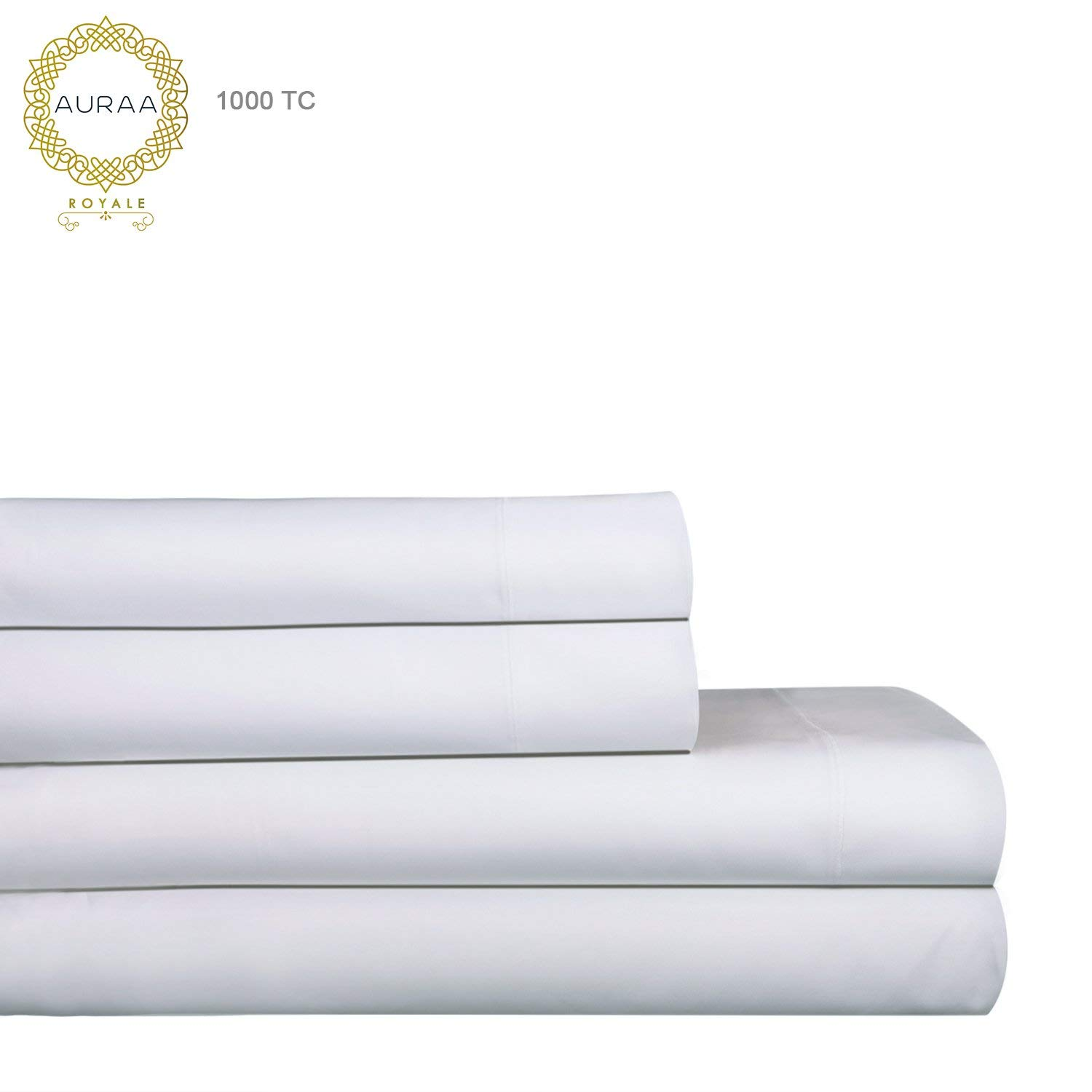 AURAA Royale 1000 Thread Count 100% American Supima Long Staple Cotton Sheet Set,4 Pc Set, King Sheets Sateen Weave,Hotel Collection Luxury Bedding,Upto 18'' Deep Pocket,White