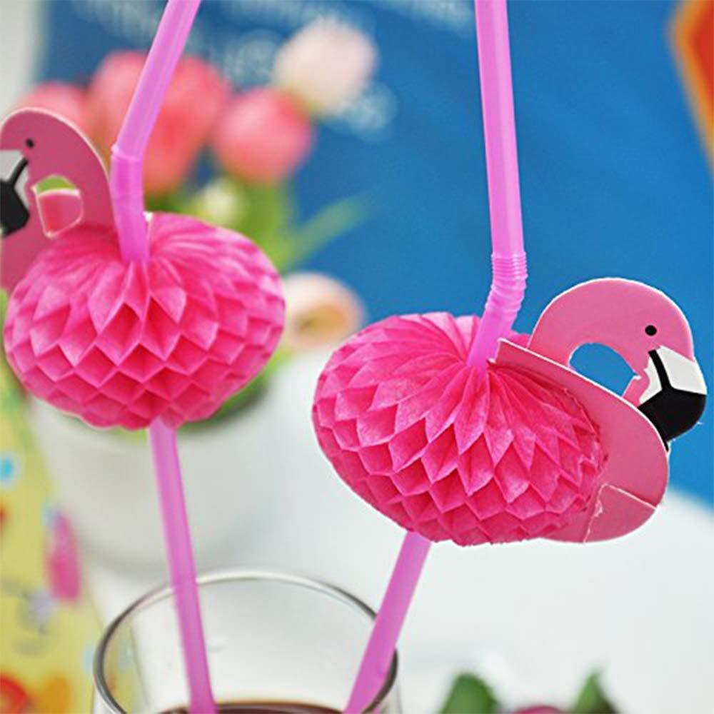 YIMIA DIY Flamingo Straw Flexible Plastic Drinking Straws,Party Decor Drinking Straws 20 Pcs