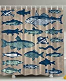 Fish Shower Curtain Fish Shower Curtain Nautical Coastal Theme Marine Decor by Ambesonne, Sea Creatures Tropical Aquarioum Aqua Art Prints Fishing Underwater Beach Bathroom Polyester Fabric, 69x70 Inches, Taupe Navy Teal