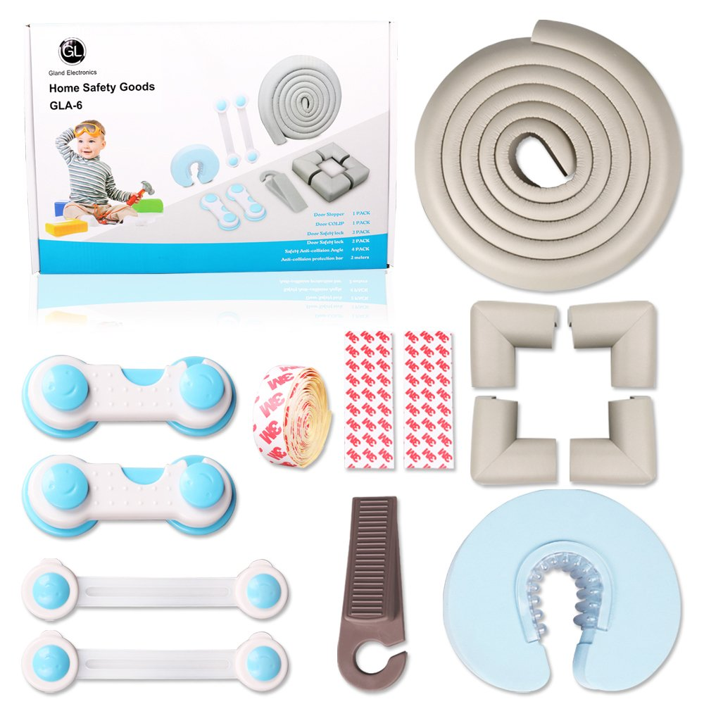 Child Safety Kit for Home Furniture,1 Wedge Door Stopper,1 Door Cushion,2  Multi-Purpose Lock Strap,2 Multi-Function Safety Lock,4 Form Corner