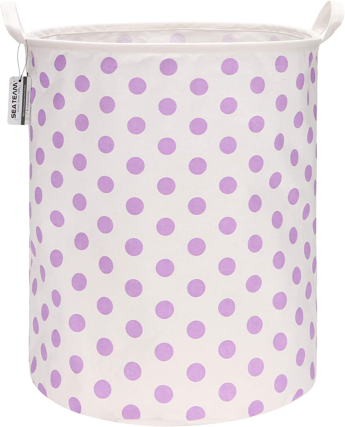 "Sea Team 19.7 Inches Large Sized Waterproof Coating Ramie Cotton Fabric Folding Laundry Hamper Bucket Cylindric Burlap Canvas Storage Basket with Stylish Polka Dot Design (19.7"", Purple)"