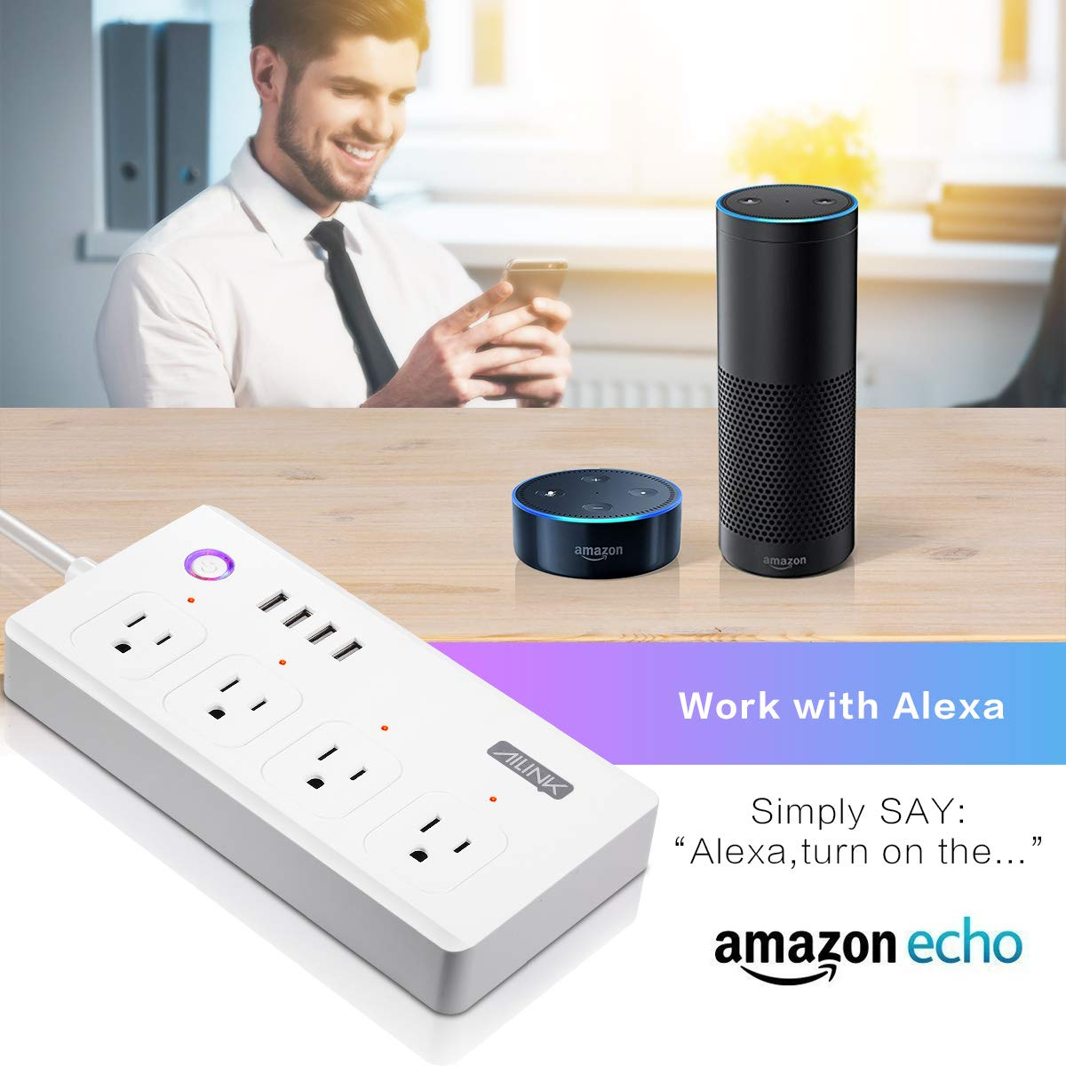 WiFi Power Strip Work with Alexa Smart Power Board AILINK Timer Schedule, Surge Protector with 4 Outlets and 4 USB Ports White by AILINK (Image #9)
