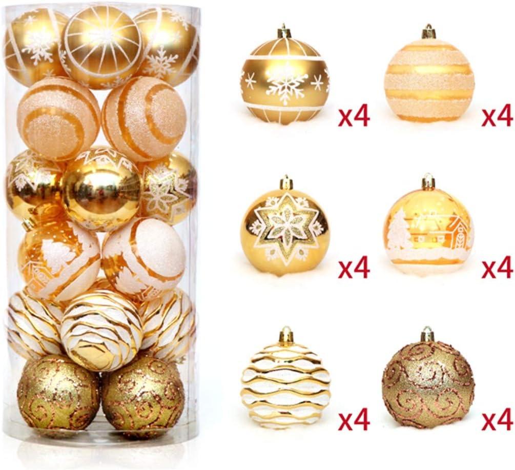 Zinsale 6cm//2.36 24PCs Arbre Boules De No/ël Incassable en Plastique De No/ël Boules Arbre D/écorations Ornement Pendentifs F/ête D/écor Argent + Blanc