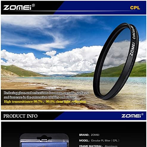 Zomei 52mm CIR-PL Circular Polarizing CPL Filter for Canon Nikon Sony Pentax Fujifilm Olympus Camera Lens
