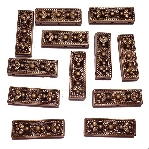 Rectangular Spacer Beads (Rainbow Plated-Rectangle Pattern 3 Hole Spacer Connector Findings Jewelry Making, 26 x 9 x 3mm, Brass, 68)