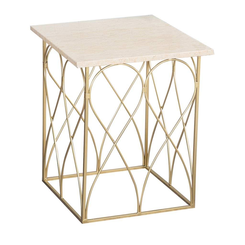 SCHUNlian 創造的な大理石のテーブル、世帯のリビングルームゴールドアイアンのアートサイドコーナーいくつかの小さなお茶テーブルスクエアレジャーリーディングテーブル スペースを節約 (色 : B) B07RSH487Y B