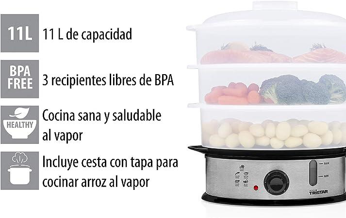 Tristar VS-3914 Cocedora a vapor libre de BPA 3 Capas, 1200 W, 11 litros, Blanco: Amazon.es: Hogar