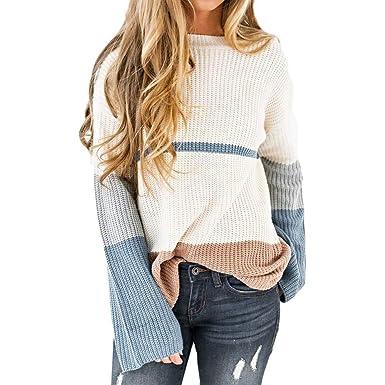 ab6ad6baa71f86 Damen Strickpullover, Frauen Herbst Mode Farbblock Patchwork Streifen  Langarm Pullover Top Lose Bluse Outwear: Amazon.de: Bekleidung