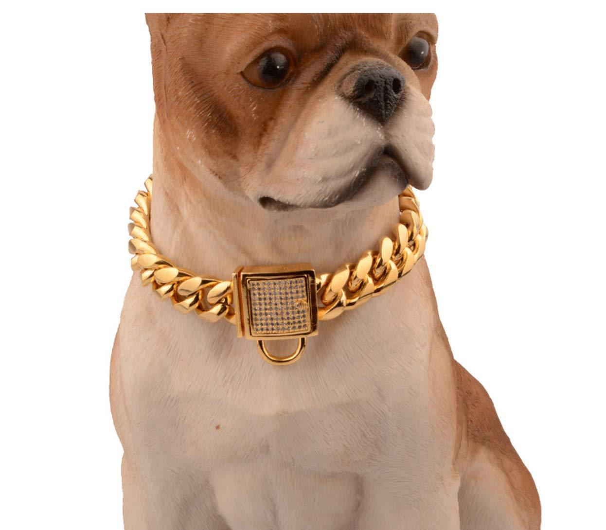 gold 18inch gold 18inch MICHEALWU Stainless Steel Training Chain Pitbull Pet Dog Choke Collar Metal Dog Collar Stainless Steel 14mm gold