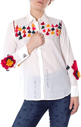 Desigual Luxury Fashion Mujer 19SWCW68WHITE Blanco Camisa | Temporada Outlet: Amazon.es: Ropa y accesorios