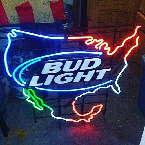Desung Brand New 24''x20'' North America States Bud-Light Neon Sign (Various sizes) Beer Bar Pub Man Cave Business Glass Neon Lamp Light DC114