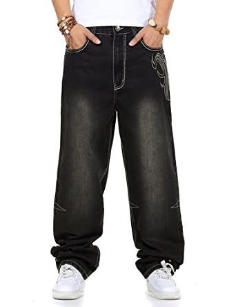 e904515cf59 PY-BIGG Mens Jeans Relaxed Fit Big   Tall Baggy Hiphop Skateboard Pants  Embroidery Black