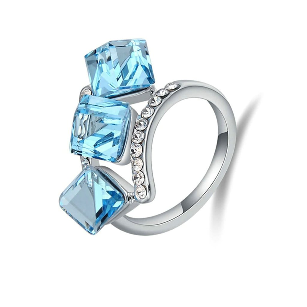 Gnzoe Womens Stainless Steel Square Cube Cubic Zirconia Ocean Blue Annniversary Wedding Bands
