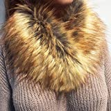 YOMXL Women's Fashion Imitation Wool Scarf Faux Fur Collar Grass Scarves Wrap Cold Winter Warmer Shawl for Winter Coat (Gold)