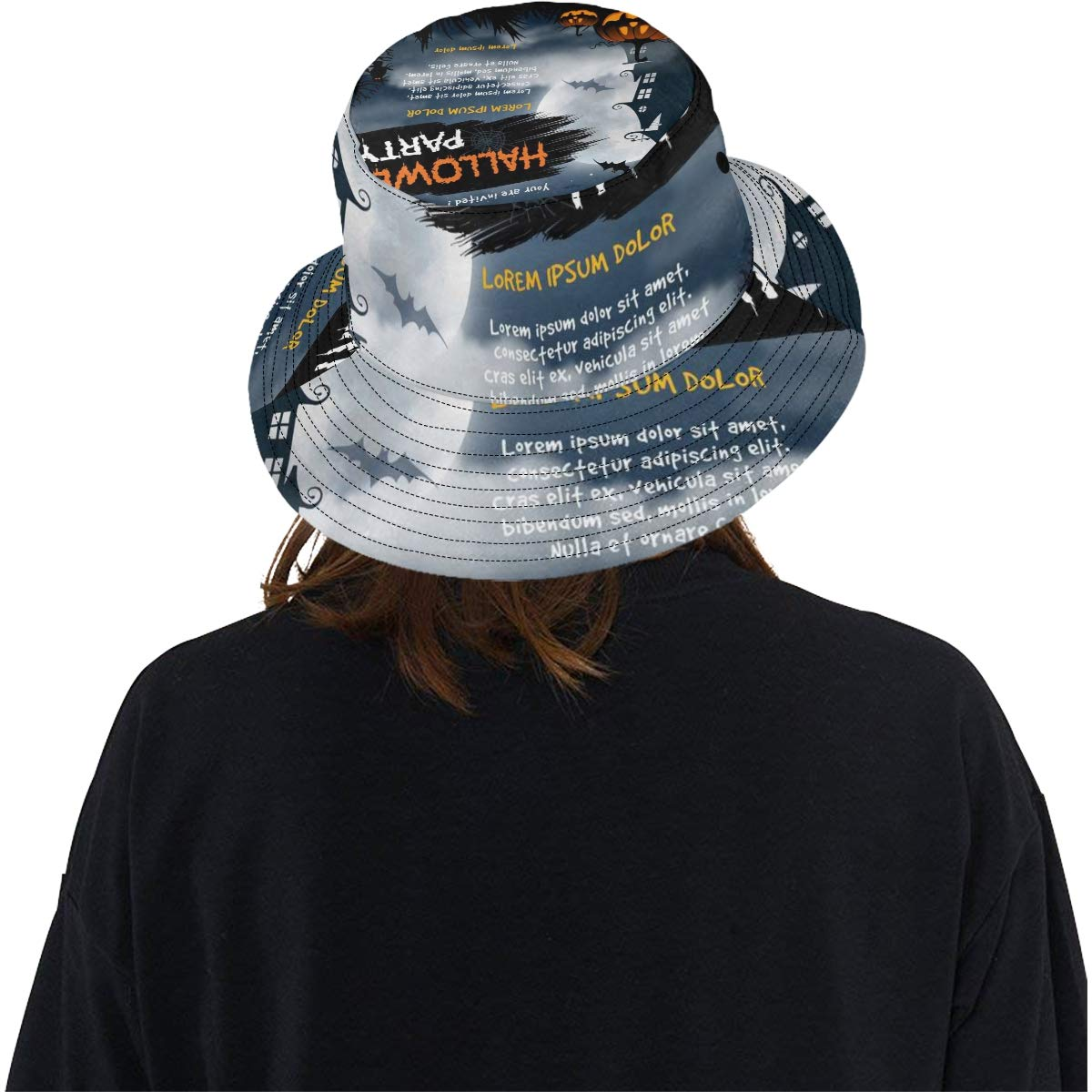 Halloween Haunted House Spooky Graveyard New Summer Unisex Cotton Fashion Fishing Sun Bucket Hats for Kid Teens Women and Men with Customize Top Packable Fisherman Cap for Outdoor Travel