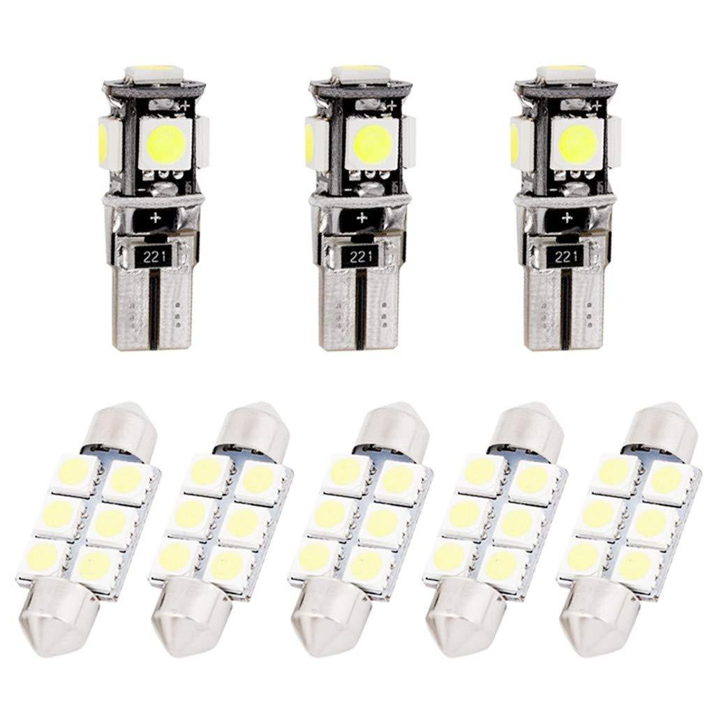 Para Golf5 MK5 LED Bombilla Luz Interior de Coche Super brillante Luces lectura coche Dome Bombilla Canbus sin errores 12V Blanco 9 Piezas