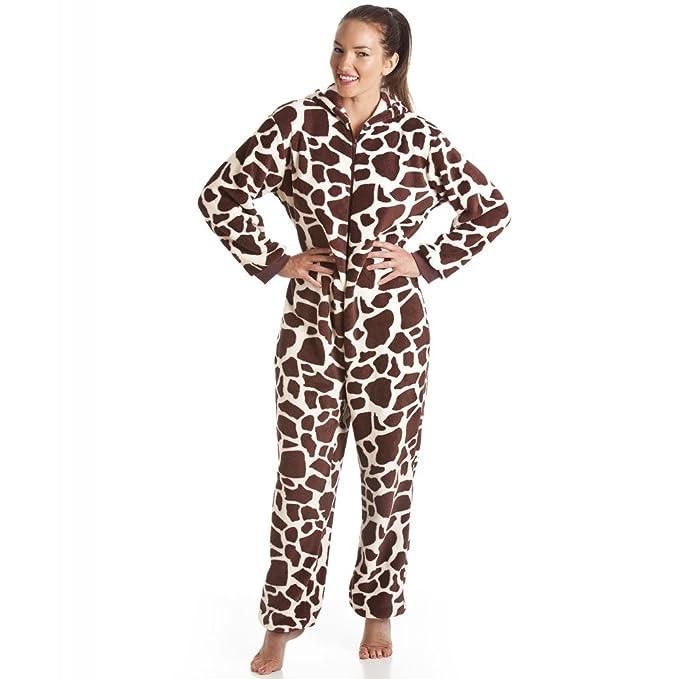 Pijamas pijama súper pieza - con capucha - estampado de jirafa - marrón y blanco 48