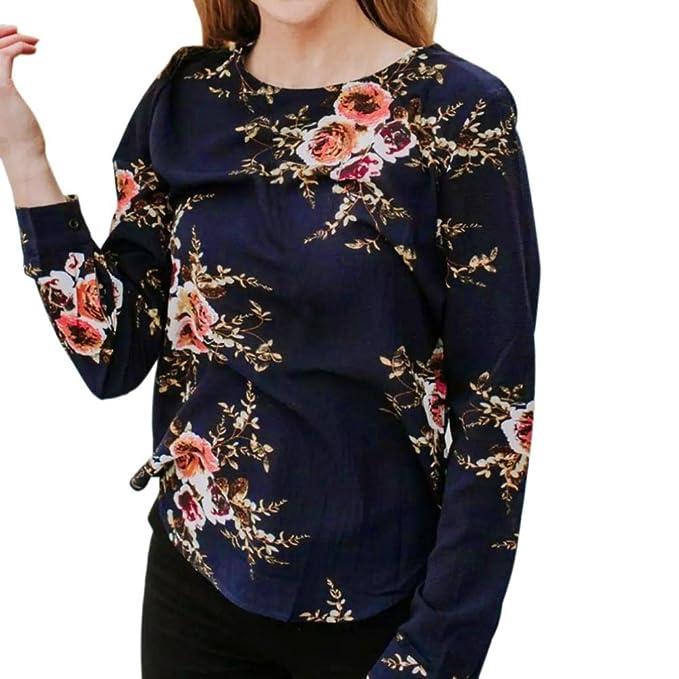 Blusas Mujer, ASHOP Casual Impresión Floral Sudaderas Moda Elegantes Ropa en Oferta Camisetas Manga Larga Tops de Fiesta Abrigos Invierno de Mujer Otoño: ...