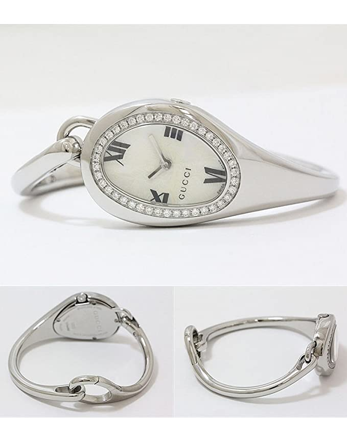 2432e4fa952 Gucci Horsebit 103 Steel   Diamond Womens Fashion Bangle Watch MOP Dial  Floral ya103529  Amazon.co.uk  Watches