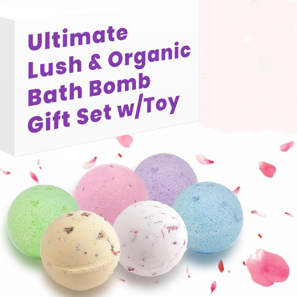 Lush Essential Oil & Dry Flowers Bath Bombs Gift Set, 6 Large 5.5 Oz Bath Soak, Natural Moisturizing for Dry Skin, Enjoying Fizzy Bubble Spa Everyday, Best Gift Idea for Moms, Wives, Girlfriend, Women