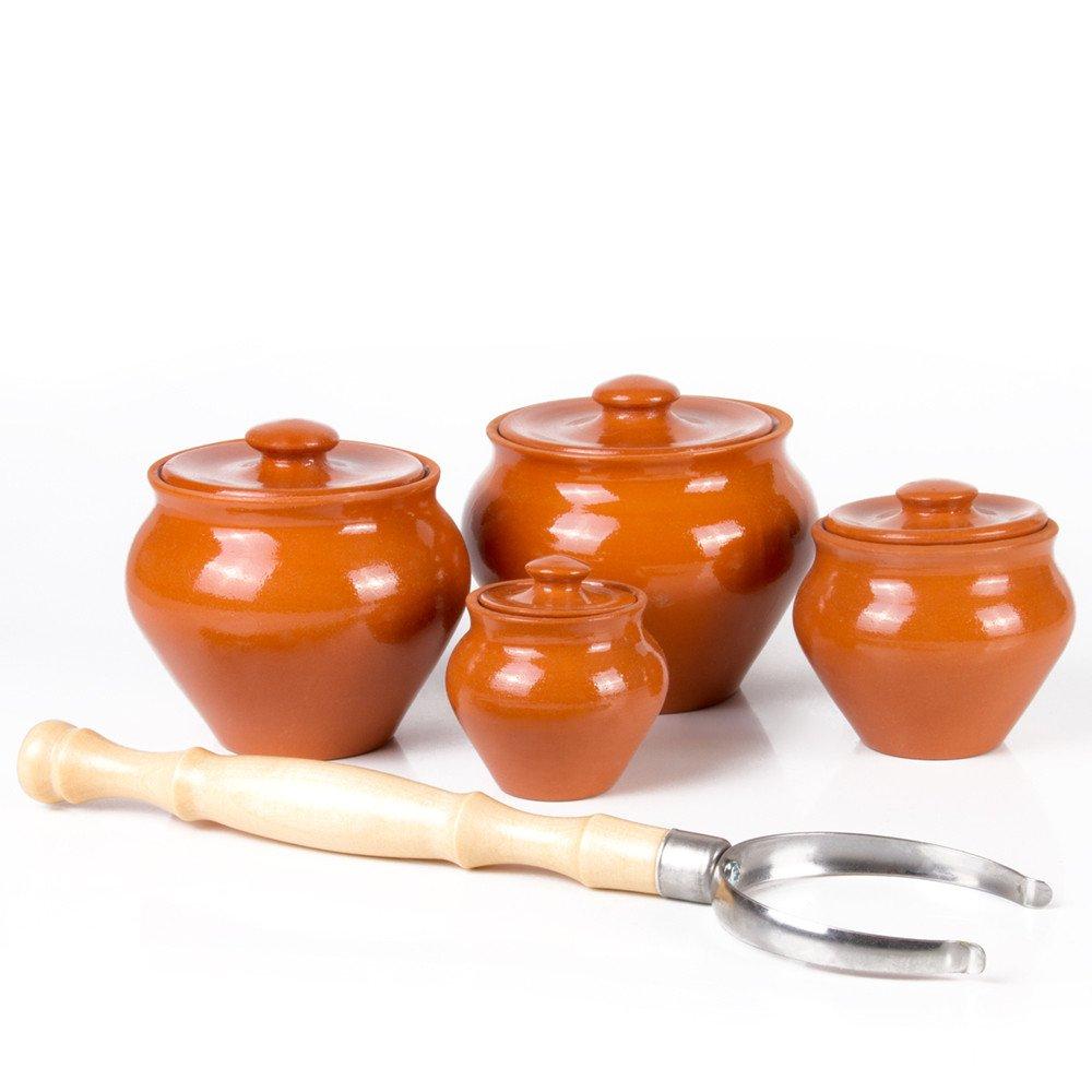 Set of 3 Ramekins /& 1 Oven Fork Stoneware