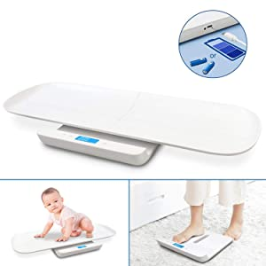 Sotech Baby Weight Scale USB Charging, Multi-Function Digital Scale, Scales for Body Weight, Pet Scale, Infant Scale, Toddler Scale with Tape Measure & Battery, Max 220lbs