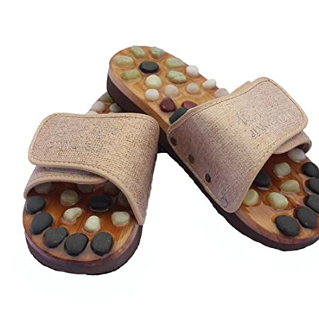 1907195be2c2 FJY Foot Massage Slippers Shoe Foot Care Reflexology Sandals With Natural  Acupuncture Stones Mules Slippers Promote