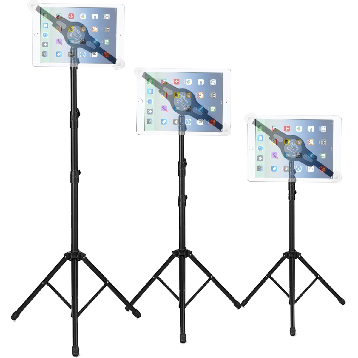 Foldable Floor Tablet Tripod Stand Mount, ANKO iPad and Tablet Floor Height Adjustable 360 Rotating Stand for iPad Mini, iPad Air, iPad 1,2,3,4, Samsung Galaxy and All 7'' to 12'' Tablets(BLACK) by ANKO