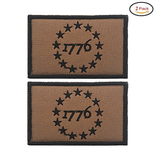X.Sem USA American 1776 Patriot Patch - 2 Pack Tactical Patches Embroidery Morale Emblem (Mud) (Mud)