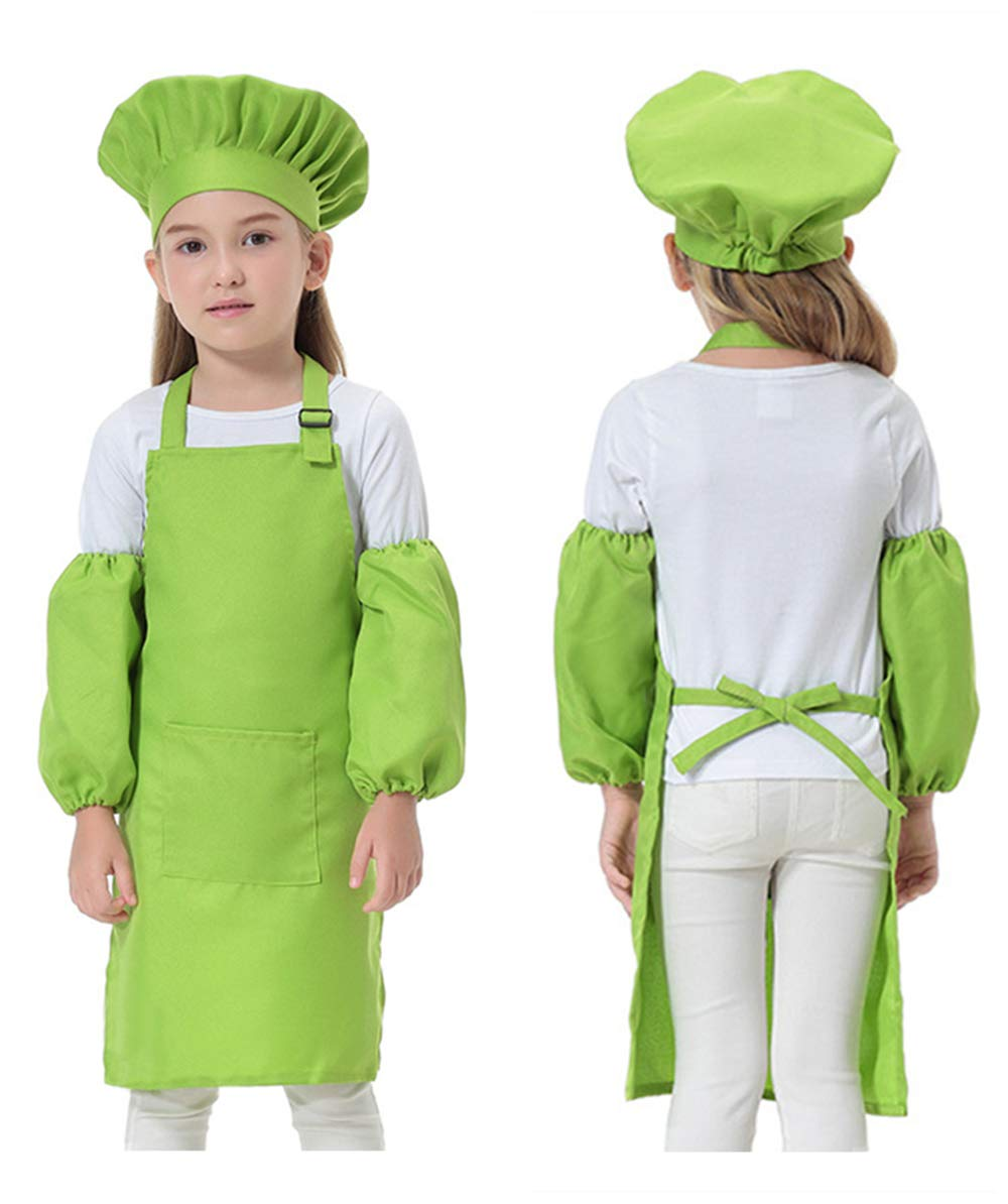 Opromo Colorful Cotton Canvas Kids Aprons with Pocket, Artist Apron & Chef Apron(S-XXL)-Hot Pink-L by Opromo (Image #2)