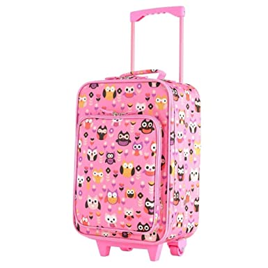 378cd106bb1 Kids Pink Floral Owl Themed Wheeled Duffle Bag Upright Rolling Duffle,  Flowers Suitcase, Girls