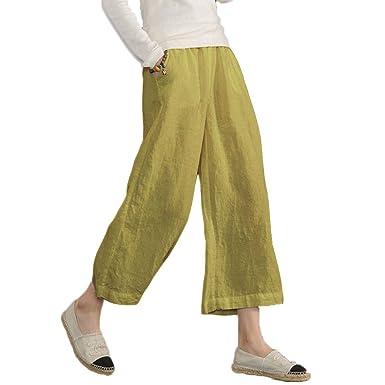 78ecfd2e2a17 Ecupper Damen Beiläufig Lose Plus Size Elastische Taille Baumwolle Hosen  Beschnitten Breites Bein Hose  Amazon.de  Bekleidung