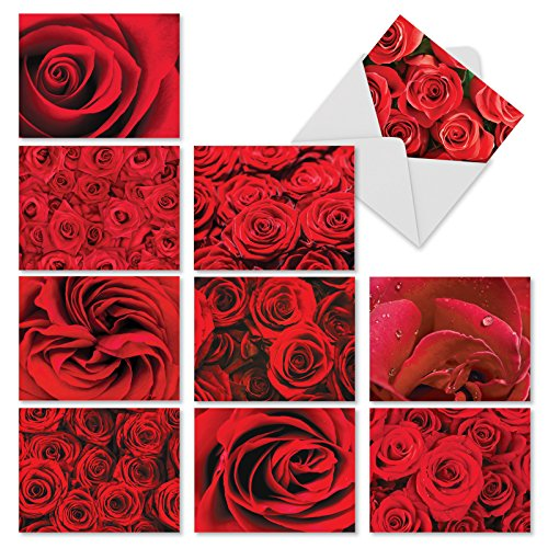 ('Roses are Red' Blank Greeting Card Set with Envelopes - Box of 10 Flower Note Cards (4'' x 5 ¼'') for Baby Shower, Wedding, Thank You, Mother's Day - NobleWorks #M3088)