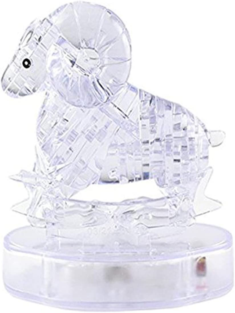 3D Crystal Zodiac Signs Flashing LED Light Kids Jigsaw Puzzle Model Toy ⑧Y