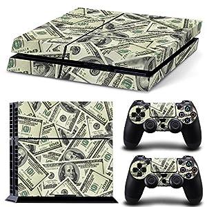 TURXIN PS4 Console and DualShock 4 Controller Skin Set - Dollar Bills Money Design - PlayStation 4 Vinyl
