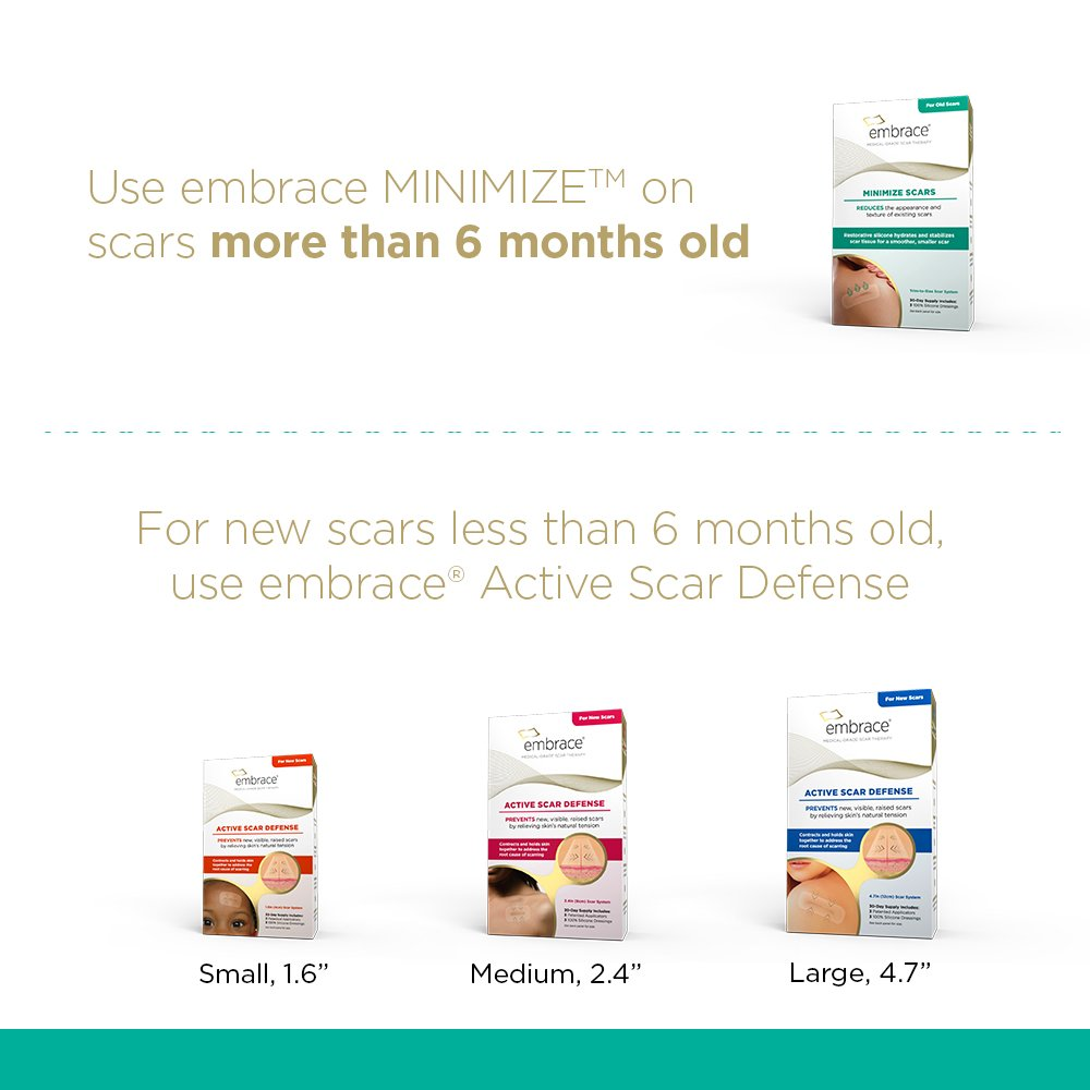 Scar Treatment by Embrace, Silicone Sheets to Minimize Old Scars, Large Cut-to-Size 4.7 inch Sheets, 3 Count, Initial Half Treatment (30 Day Supply)
