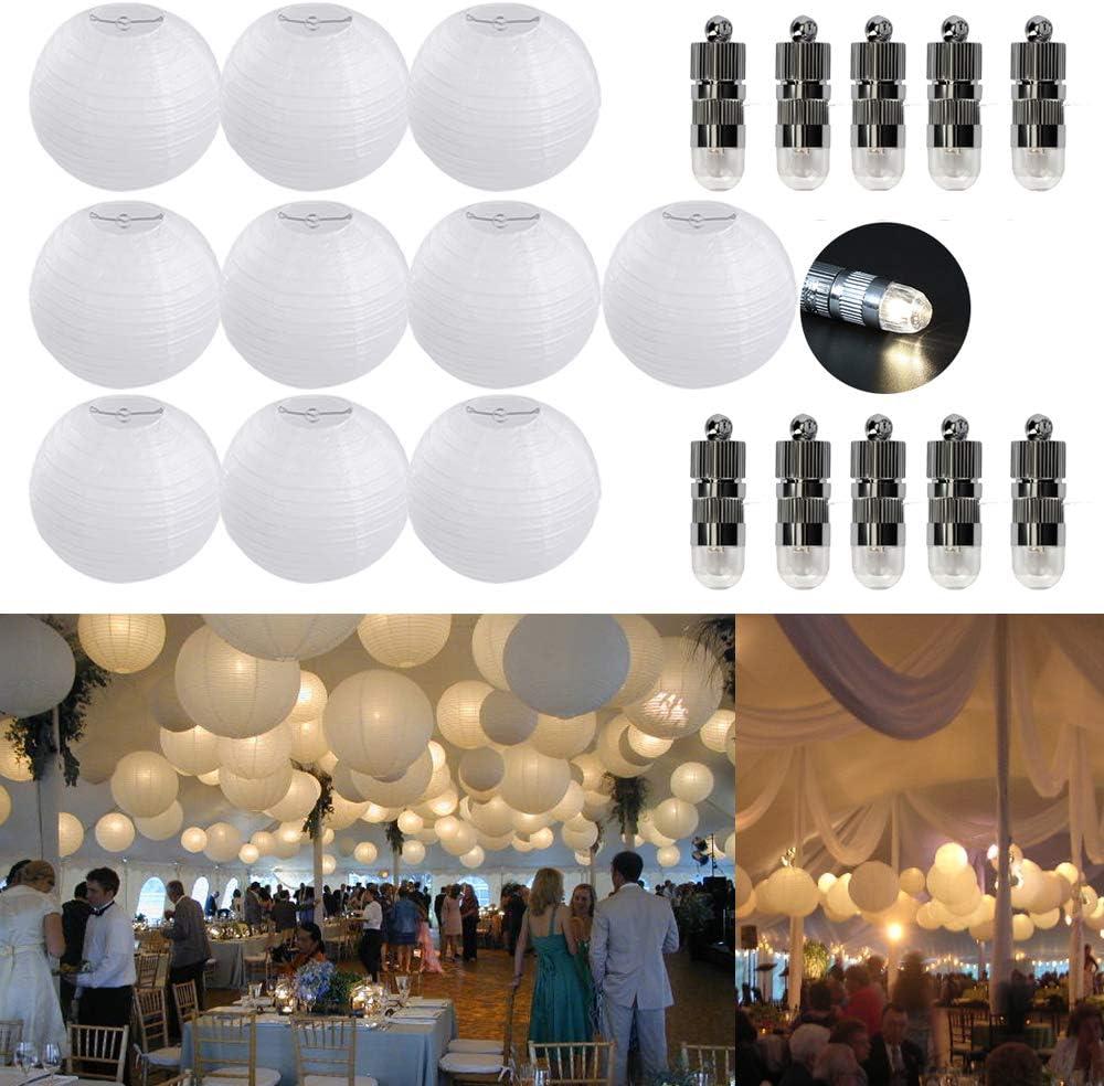 10 mini LED blanc chaud Lot de 10 lanternes en papier blanc avec lampions 20 cm