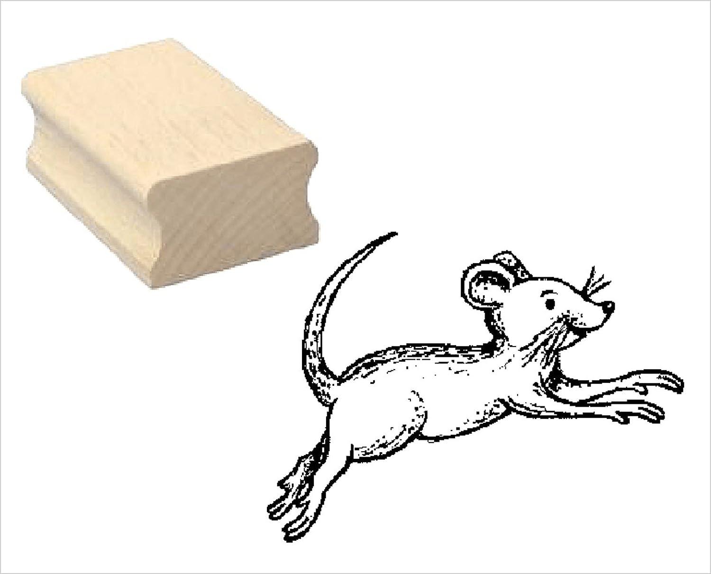 Embossing Kinderstempel Kinder Kindergarten Zoo Tierpark Einschulung Stempel Holzstempel Motivstempel /« springende MAUS /» Scrapbooking
