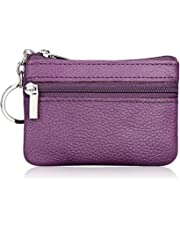 Hibate Mini Coin Purse Holder Wallet Leather Purses for Women Men Kids Zipper Pouch with Key Ring - Purple