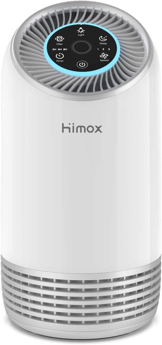 HIMOX Purificador Aire con Filtro HEPA, Purificador de Aire con Modo de Sueño, Luz Nocturna de 7 Colores, 3 Speed, Temporizador, Captura Bacterias, Alergias, Polen, Humo, Olor y Caspas de Mascota