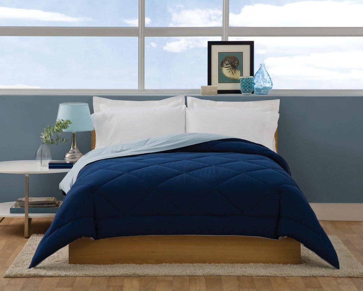 Dark blue bedding - Amazon Com Villa Collection Solid Color Reversible Queen Comforter Spa Blue To Navy Home Kitchen