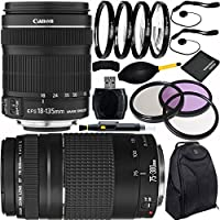 Canon EF-S 18-135mm f/3.5-5.6 IS STM & EF 75-300mm f/4-5.6 III Dual Lens Bundle with Accessory Kit for EOS 7D Mark II, 7D, 80D, 70D, 60D, 50D, 40D, 30D, 20D, Rebel T6s, T6i, T5i, T4i, SL1, T3i, T6, T5