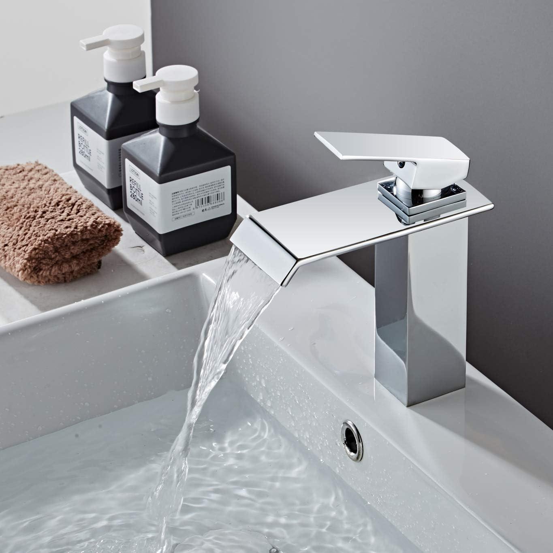 Yodel Single Handle Waterfall Bathroom Vanity Sink Faucet Chrome
