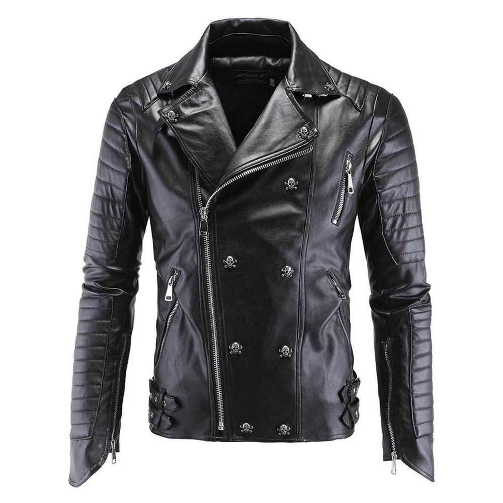71bc59c332a Hzcx Fashion Men s Zipper Biker Motor Punk Faux Leather Jackets PU Skull  Jacket at Amazon Men s Clothing store