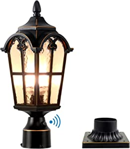 Dusk to Dawn Outdoor Lamp Post Lights Waterproof Exterior Pole Lantern Lighting Fixtures with 3-Inch Pier Mount Base for Garden Patio Yard Pathway Driveway